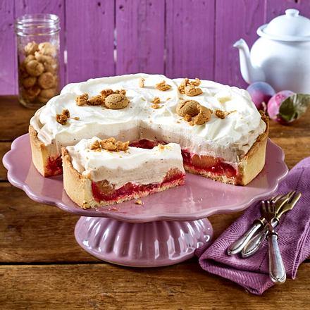 Pflaumen-Sahne-Kuchen mit Amarettini-Bröseln (Titel) Rezept