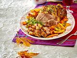 Glasierter Schweinenackenbraten mit Apfelgelee und Röstgemüse (TITEL) Rezept