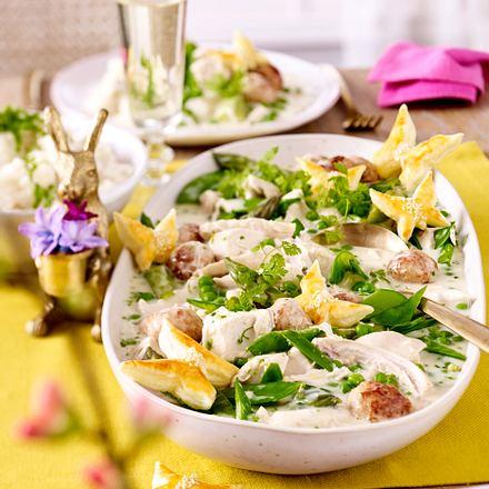 Osterbrunch – Grünes Hühnerfrikassee und Parmesan-Risotto (Titel) Rezept