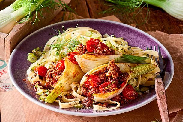 Fenchelschiffchen mit Gemüse-Tagliatelle Rezept