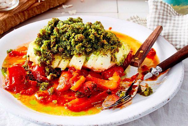Fisch aufn Tisch Kabeljau mit Kräuterkruste Rezept