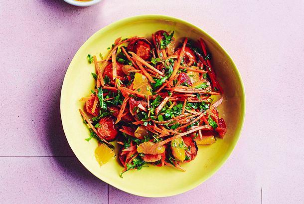 gebackene Möhren mit Zitrussalat Rezept