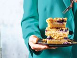 Gedeckter Käsekuchen-Kandidat mit Heidelbeeren rezept