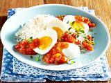 Gekochte Eier in scharfer Paprikasoße Rezept