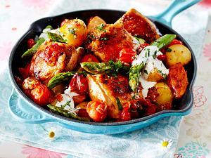 Hähnchenpfanne mit neuen Kartoffeln und Spargel Rezept