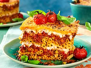 makkaroni Lasagne mit 3 Käse Haube