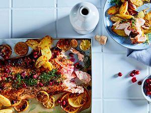 Mit Cranberry-Gin-Butter übergrillter Lachs Rezept