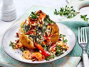 Ofenkartoffel mit Lachs & Spinat Rezept