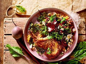 rote-bete-linsen-salat zu Kotelett Rezept