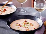 Sellerie-Cremesuppe mit Würzmaronen Rezept