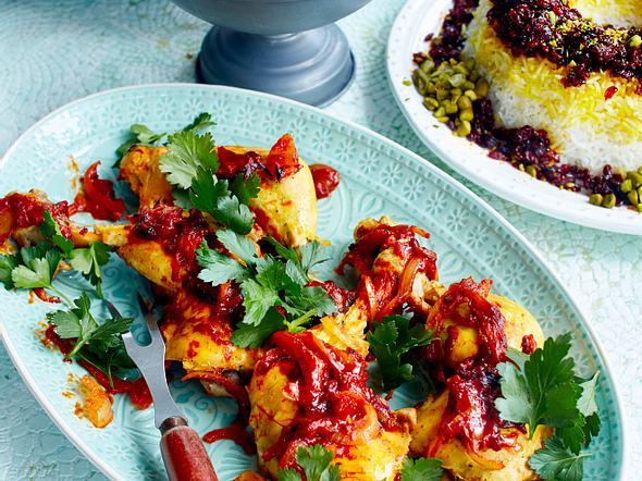 Sereschk Polo ba Morgh (Reis mit Hühnchen) Rezept