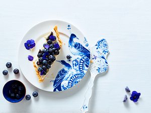 Vanillige Heidelbeer-Shortbread-Tarte