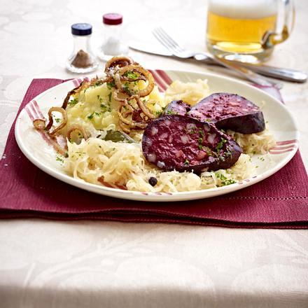 Aachener Blutwurst mit Sauerkraut und Kartoffelpüree Rezept