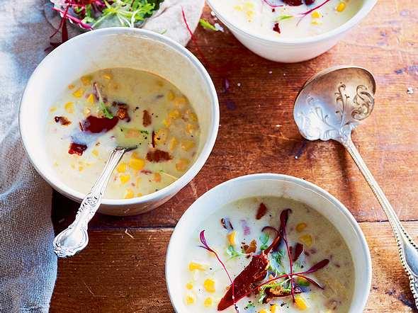 After-work-Maissuppe mit Schinkenchips Rezept