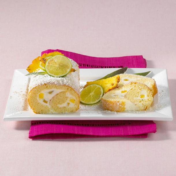 Ananas-Biskuitrolle Rezept