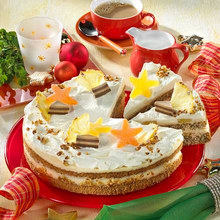 Ananas-Frischkäse-Torte mit Walnussbiskuit Rezept