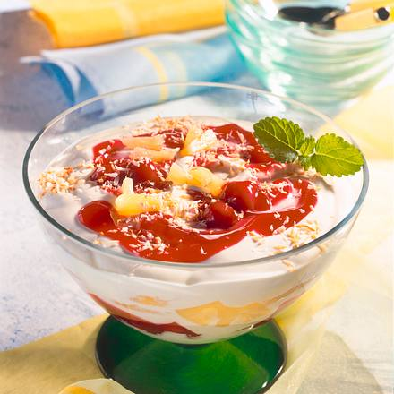 Ananas-Kirsch-Kokos-Schichtspeise Rezept