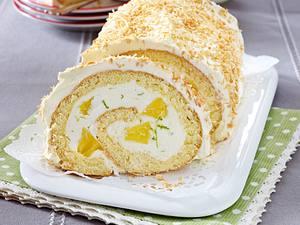 Ananas-Limetten-Biskuitrolle mit Käse-Sahne-Creme Rezept