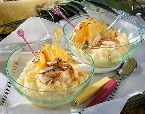 Ananas-Mandelpudding Rezept