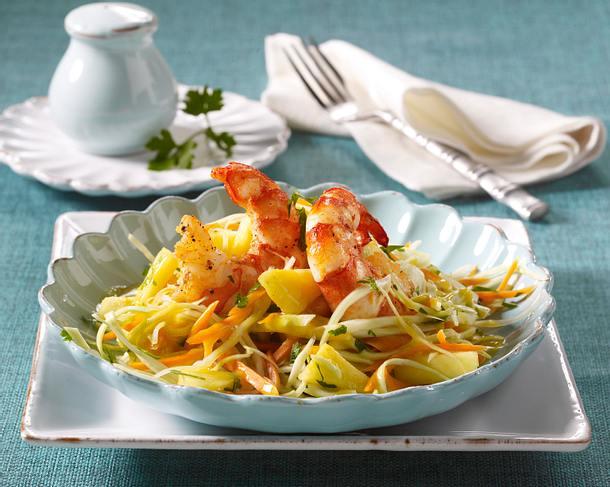 Ananas-Weißkohl-Salat mit Garnelen Rezept