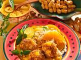 Ananasfrikadellen mit Currysoße und exotischem Reis Rezept