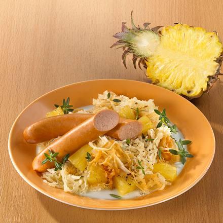 Ananaskraut mit Geflügelwürstchen (Trennkost) Rezept