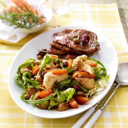 Antipasti-Salat zu Minutensteaks Rezept
