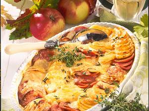 Apfel-Kartoffel-Lyoner Gratin Rezept