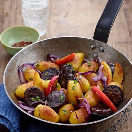 Apfel-Kartoffel-Pfanne mit Blutwurst Rezept