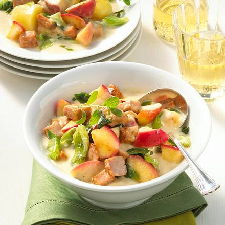Apfel-Kasseler-Ragout mit Meerrettich Rezept
