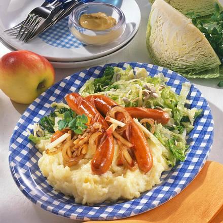 Apfel-Meerrettich-Püree zu Geflügelwürstchen Rezept