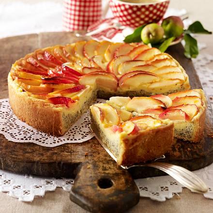 Apfel-Mohn-Kuchen mit Vanillepuddingcreme Rezept