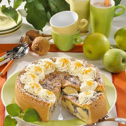 Apfel-Mohn-Torte mit Biskuitguss Rezept