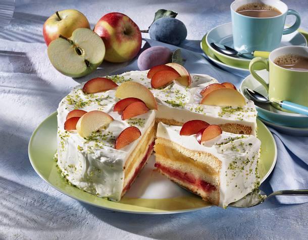 Apfel-Pflaumen-Schichttorte Rezept