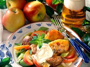 Apfelpfanne mit Leber und Nockerln Rezept