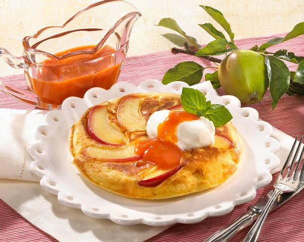 Apfelpfannkuchen mit Sanddornsoße Rezept