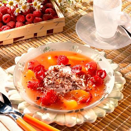 Aprikosen-Himbeer-Grütze mit Quark Rezept