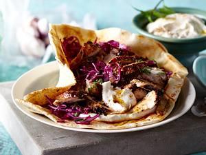 Arabisches Shawarma mit Tahin und Rotkohlsalat Rezept
