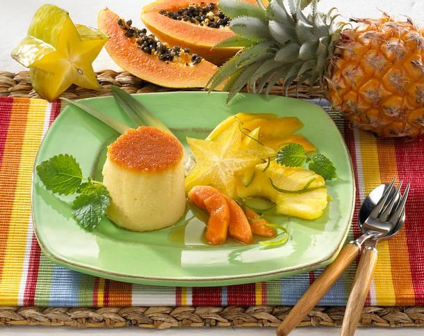Argentinischer Brotpudding mit exotischem Obstsalat Rezept