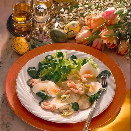 Artischocken-Ei-Salat mit Tiefseekrabben Rezept