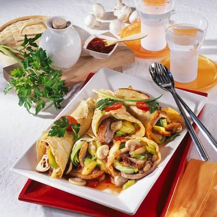 Asia-Crêpes mit Entenbrust Rezept