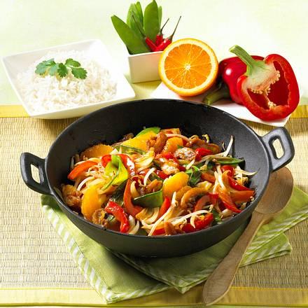 Asia-Huhn mit Paprika und Orangen Rezept