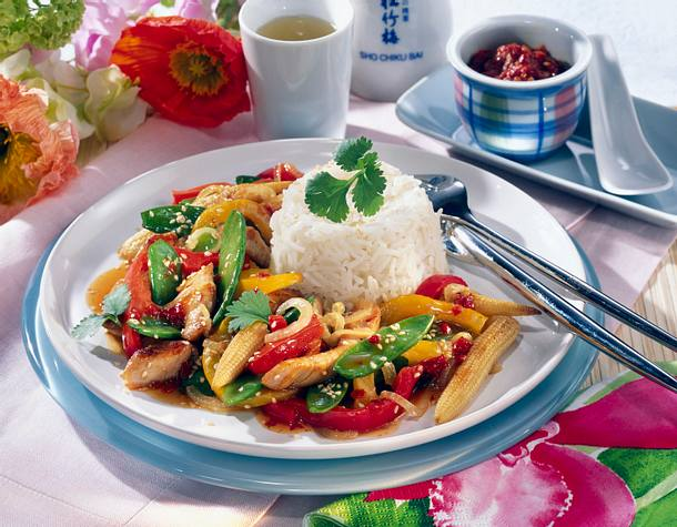 Asia-Puten-Pfanne mit Basmati-Reis Rezept