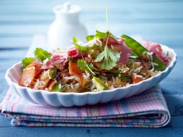 Asia-Reis mit Roastbeef Rezept