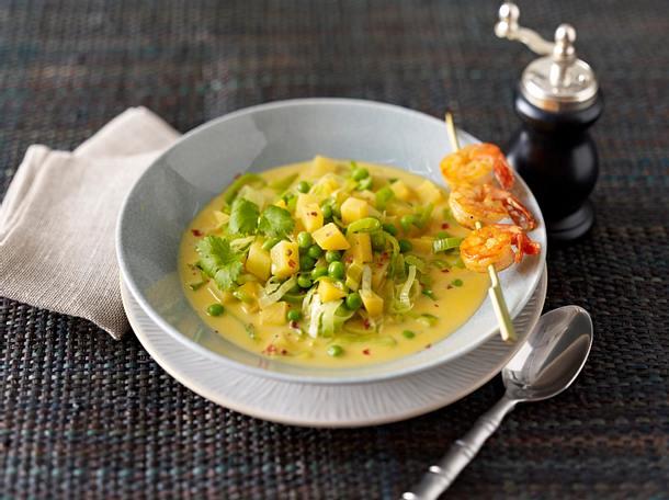 Asia-Suppe cross over mit Spieß Rezept