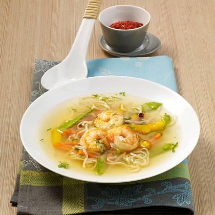 Asia-Suppe mit Garnelen Rezept
