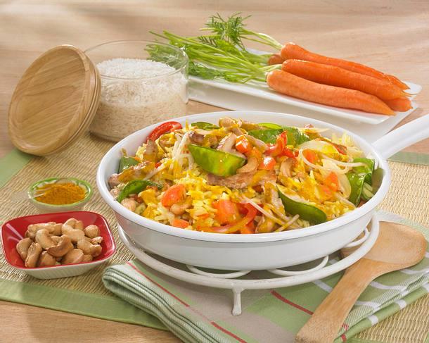 Asiatische Curry-Gemüse-Reispfanne Rezept