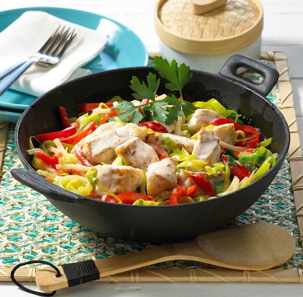 Asiatische Fischpfanne mit Kokosmilch Rezept