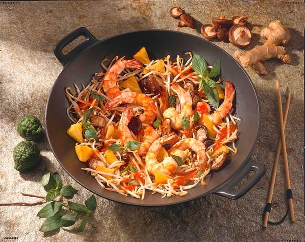 asiatische garnelen pfanne rezept chefkoch rezepte auf kochen backen und schnelle. Black Bedroom Furniture Sets. Home Design Ideas