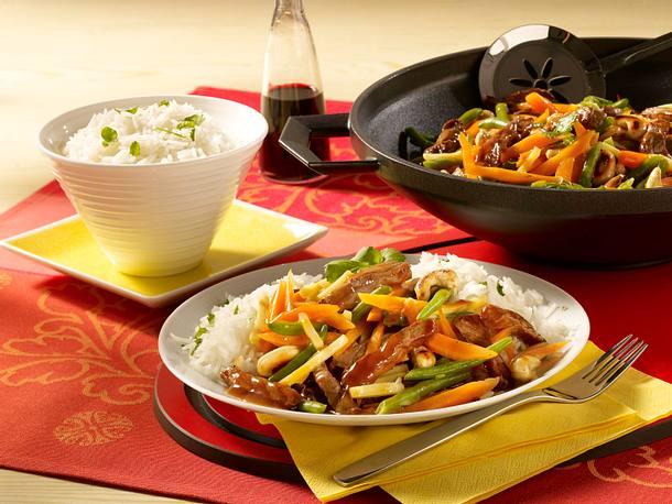Asiatische Reispfanne mit Rindfleisch Rezept